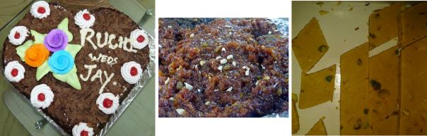 vegan cake, gajar-halwa and kaju-katli